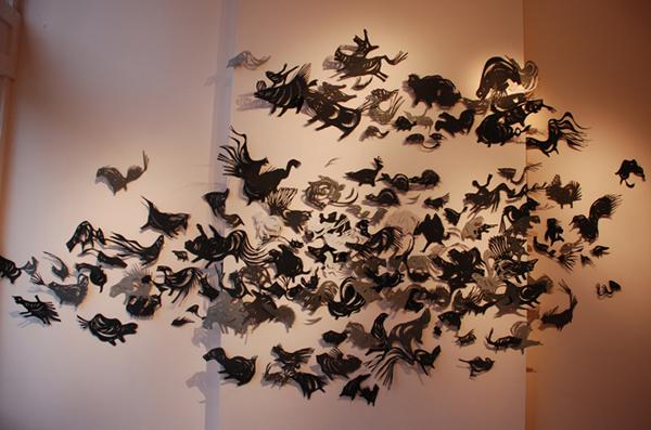 Leah Wong 'Beach' (2010) hand-cut paper
