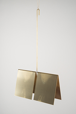 Takming Chuang, Dead Hang, 2013, brass, pull ups, body heat, 40 x 21 x 7.5 cm/ 16 x 8.5 x 3 inches
