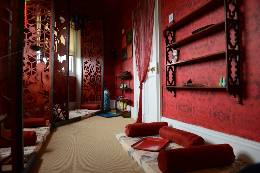 Karen Tam, 'Opium Den' (2013) as part of the exhibition Couriers of Taste, Danson House, photo by Ann Purkiss