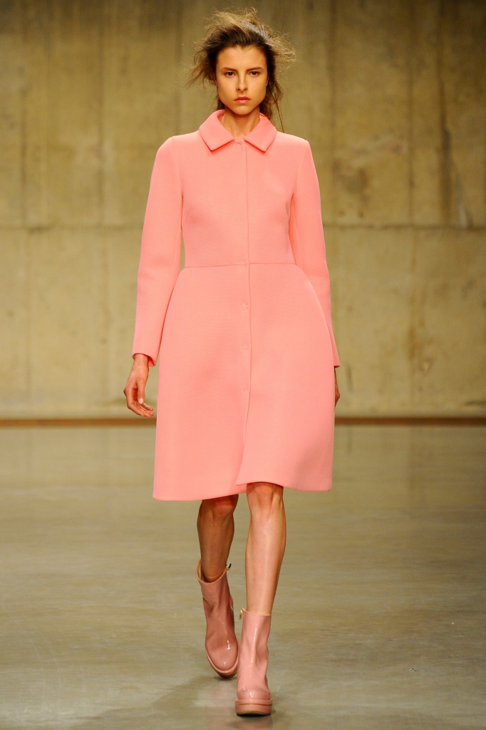 A model on the runway at Simone Rocha's fall 2013 show at Topshop Show Space in The Tanks at Tate Modern.