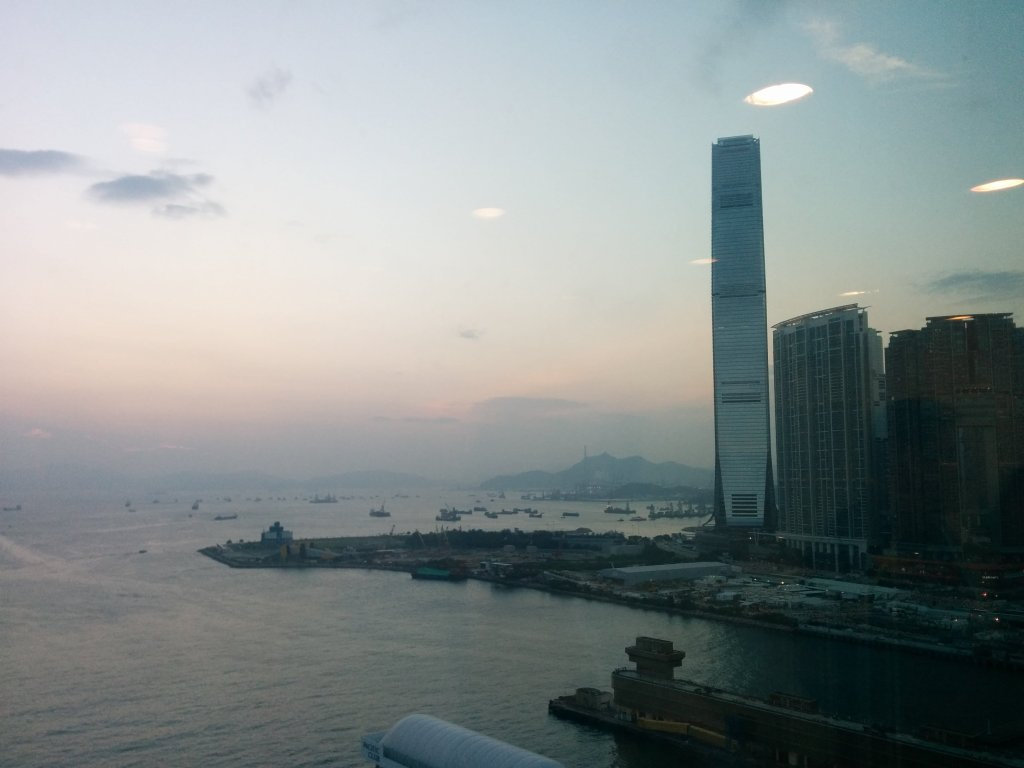 View from M+ office in West Kowloon, Hong Kong...looking over the M+ Museum site where they have broken ground...