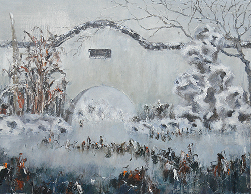 中国园林系列 布面油画 'Chinese Garden No. 9' by Liu Weidong (2015) 70x90cm Oil on Canvas