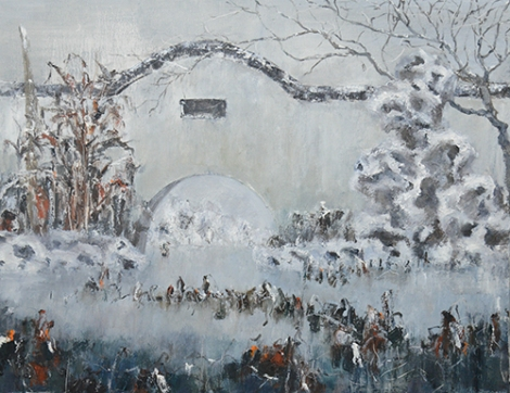 中国园林系列 布面油画 'Chinese Garden No. 9' by Liu Weidong (2015) 70x90cm Oil on Canvas