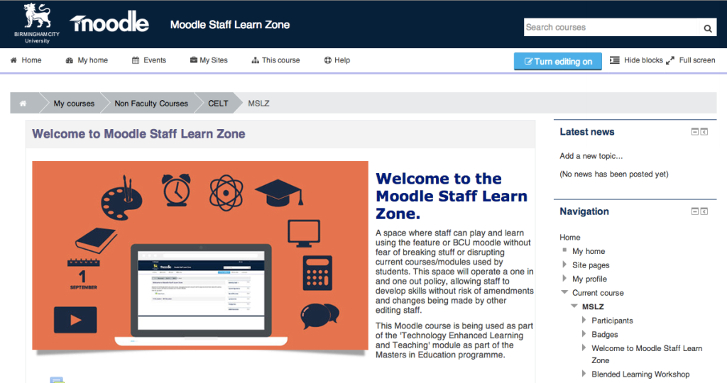 Moodle Staff Learn Zone