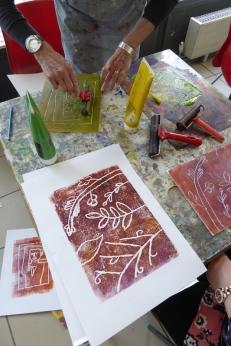 Attenborough Arts Centre Mono printing 2