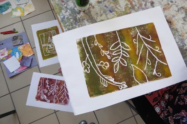 Attenborough Arts Centre Mono printing 3