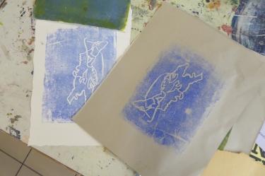Attenborough Arts Centre Mono printing 6